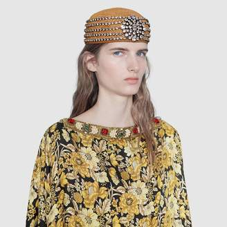 44ec283ad6b65 at Gucci · Gucci Papier hat with crystals