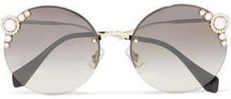 Miu Miu Embellished Round-frame Acetate And Gold-tone Sunglasses - one size