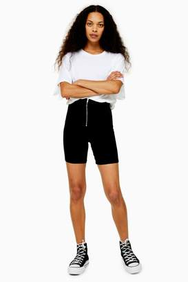 Topshop Womens Petite Cycle Shorts With Zip - Washed Black