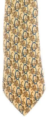 Hermes Lion Print Silk Twill Tie