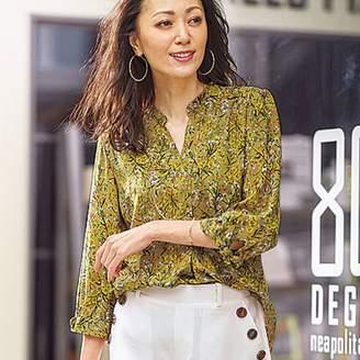 ベルーナ (ベルーナ) - ベルーナ レーヨンプリント素材袖リボンブラウス 花柄ネイビー 3L レディース