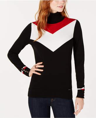 Tommy Hilfiger Cotton Chevron-Pattern Turtleneck Sweater