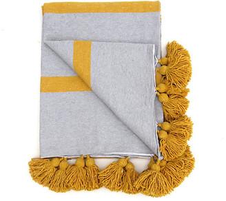 One Kings Lane Vintage Gray Stripe Cotton Tassel Blanket - Habibi Imports