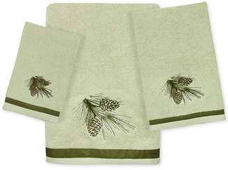 Bacova Pinecone Silhouettes Cotton Embroidered Bath Towel Bedding