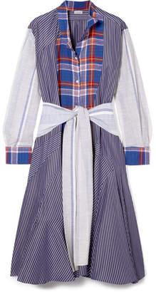 Loewe Tie-front Patchwork Cotton Midi Dress - Blue