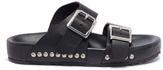 Alexander McQueen Hammered stud buckled leather slide sandals