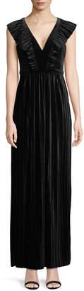 BCBGeneration Pleated Velvet Maxi Dress