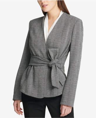 DKNY Herringbone Tie-Front Jacket, Created for Macy's