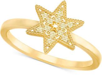 Swarovski Gold-Tone Pave Star Ring