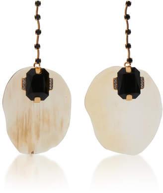 Marni Horn Petal Metal and Strass Earrings