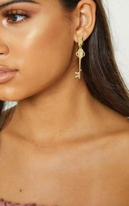 PrettyLittleThing Gold Ornate Key Earrings