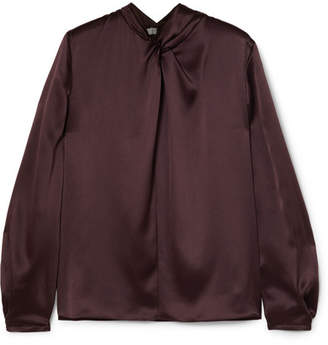 Vince Knotted Silk-satin Blouse - Brown