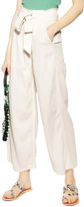 Topshop Tie Waist Wide Leg Pants