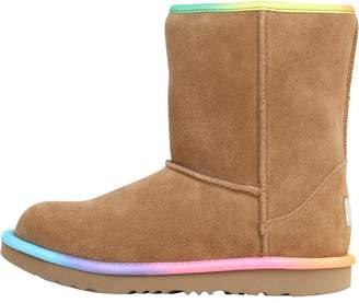UGG Junior Girls Classic Short II Rainbow Boots Chestnut