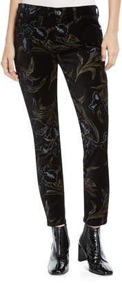 7 For All Mankind Jen7 By Metallic Floral Velvet Skinny Ankle Pants
