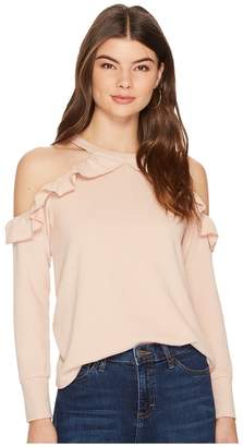 1 STATE 1.STATE Cold Shoulder Ruffle Edge Top Women's Clothing
