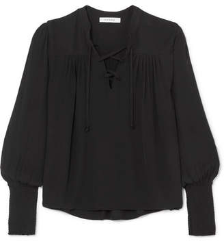 Frame Lace-up Crepe Blouse - Black