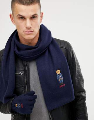 Polo Ralph Lauren bear logo wool gloves and scarf gift set in navy