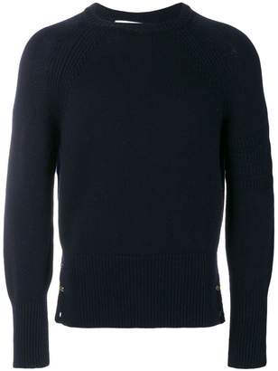 Thom Browne Tonal 4-Bar Stripe Button-Back Fine Merino Crewneck Pullover
