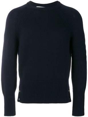 Thom Browne Tonal 4-Bar Stripe Button-Back Fine Merino Crewneck Pullover