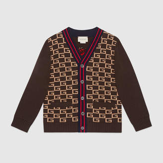 Gucci Children's Square G cardigan with panther