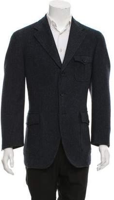 Belvest Suede-Trimmed Wool Blazer