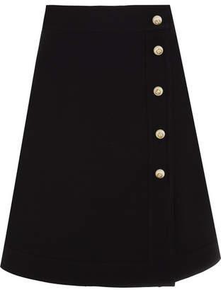 Gucci Embellished Wool And Silk-blend Mini Skirt - Black