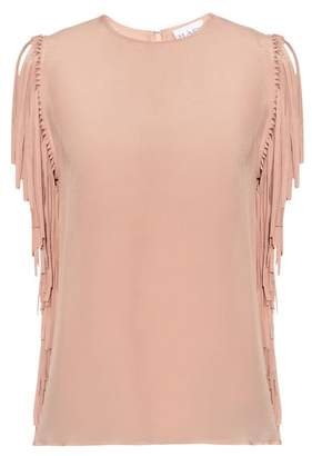 Raey Fringed Silk Top - Womens - Pink