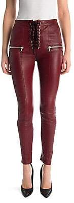 Unravel Project Women's Lace-Up Skinny Plonge Leather Pants