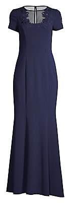 Aidan Mattox Women's Illusion Short Sleeve Gown