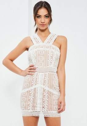 Missguided White V Strap Lace Mini Dress, White