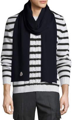 Moncler Men's Virgin Wool Scarf, Navy
