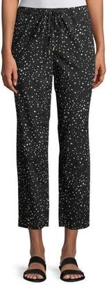 Eileen Fisher Dot-Print Cotton Slouchy Cropped Pants