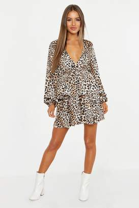 boohoo Petite Leopard Print Plunge Tiered Skater Dress