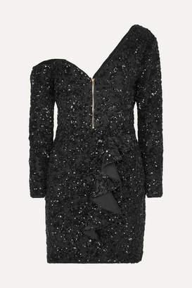 Self-Portrait One-shoulder Sequined Crepe Mini Dress - Black