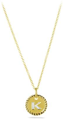 David Yurman 'Cable Collectibles' Initial Pendant with Diamonds in Gold on Chain