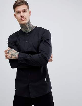 Religion slim fit smart shirt in black with grandad neck