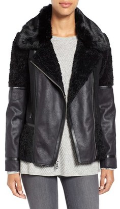 Women's Vince Camuto Mixed Media Faux Shearling Moto Jacket $360 thestylecure.com