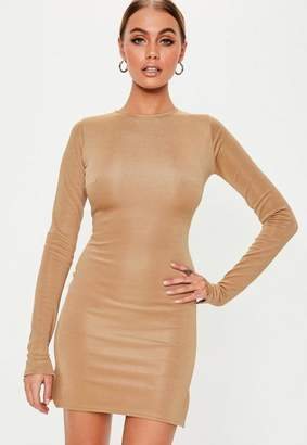 Missguided Camel Long Sleeve Bodycon Mini Dress