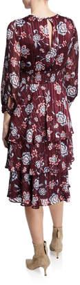 Rachel Roy Caron Floral Metallic Tiered A-Line Dress