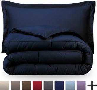 Ultrasoft Bare Home Ultra-Soft Premium 1800 Series Goose Down Alternative Comforter Set - Hypoallergenic - All Season - Plush Fiberfill, Twin Extra Long (Twin/Twin XL - Dark Blue)