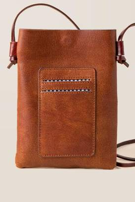 francesca's Sydni Leather Cardholder Crossbody - Cognac