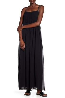 Vince Pintucked Silk Slip Maxi Dress