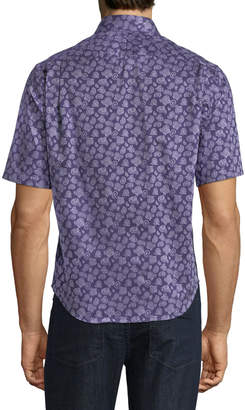 Neiman Marcus Classic-Fit Short-Sleeve Paisley Sport Shirt
