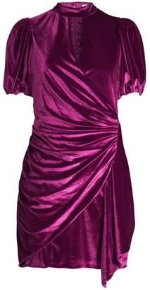 Parker Artie Faux Wrap Keyhole Velvet Mini Dress