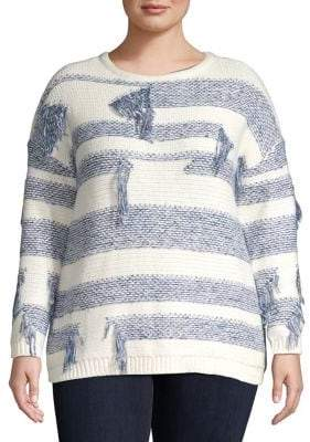 Vince Camuto Plus Boat Neck Distressed Knit Sweater