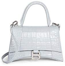 Balenciaga Women's Small Hour Croc-Embossed Leather Top Handle Bag
