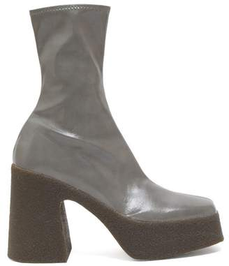 Stella McCartney Patent Faux Leather Platform Ankle Boots - Womens - Grey