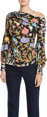 Peter Pilotto One-Shoulder Floral-Print Waffle-Knit Blouse
