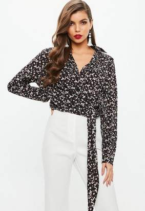 Missguided Black Wrap Over Tie Side Floral Blouse